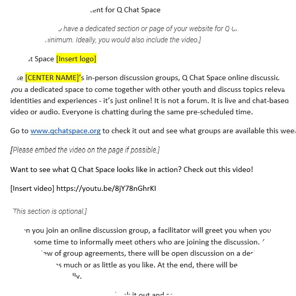 thumbnail image for Q Chat Space Web Page Content